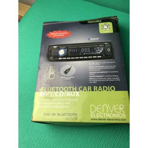 DENVER autoradio bluetooth/microfoon/cd/cdr/mp3. 4x40watt